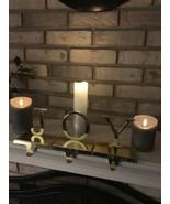 JOY set of 3 Brass Gold Christmas Tree Fireplace Mantel Shelf Stocking H... - $39.55