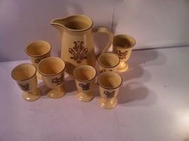PFALTZGRAFF--VILLAGE--2 QT PITCHER / 7 GLASSES--BROWN ON BEIGE--SHIPS FR... - $40.43