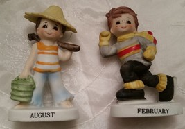 Vintage LEFTON FEBRUARY and AUGUST BIRTHDAY Boy Figurines  - Stickers - ... - $13.95