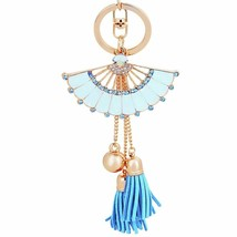 Rhinestone Keychains Fashion Shiny Fan Shaped Bead Tassel Pendant Enamel... - $8.05