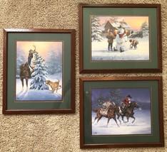 Set of 3 Three Framed Jack Sorenson Western Christmas Art Prints Home In... - $44.09