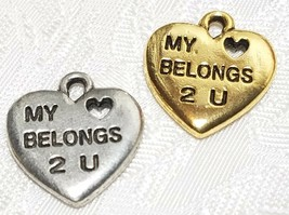 MY HEART BELONGS 2 U FINE PEWTER PENDANT CHARM