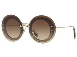 MIU MIU Reveal MU 10RS UES6S1 Grey Glitter Brown Gradient Gold Frame Sunglass - $185.77