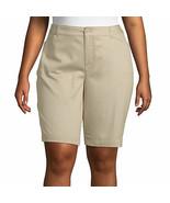 St. John's Bay Women's Plus Mid Rise Bermuda Shorts Size 16W Biscotti NE... - £19.56 GBP