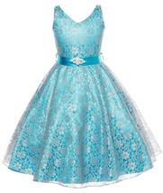 Flower Girl Dress V-Neck Lace Rhinestone Brooch Turquoise GG 3511 - $34.64+