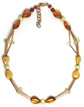 """ROSE NECKLACE TUBE ORANGE DROPS SPHERES PETALS MURANO GLASS, 50cm 20"""" ITALY MADE image 2"""