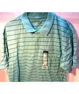 Falls Creek Mens collared polo single pocket XL teal striped shirt NEW! - $9.73