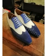 Men's Handmade Leather Shoes Two Tone Spectator Shoes, Blue Leather Men'... - $169.99
