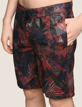 Armani Exchange Authentic Tropical Floral Mesh Swim Shorts Red Nwt - $51.73