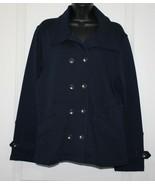 Coldwater Creek Blazer Coat Navy 100% Cotton Size L 14-16 - $22.49