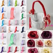 CHOOSE YOUR COLOR Red Pink  Purple Flower Girl Basket Wedding Ceremony P... - $19.99