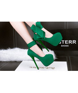 pp178 Cutie supper high heels pump w big bow side, size 34-39, green - $48.80
