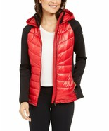 Calvin Klein Performance Mixed-Media Quilted Jacket, Red/ Black, L - $93.60