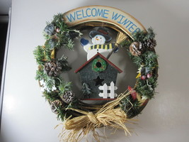 "Welcome Winter 16"" Grapevine Wreath Wooden Snowman Birdhouse Raffia Bow ... - $12.82"