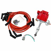SBF Ford 289 302 5.0L HEI Distributor 65K Coil 8mm Red Silicone Spark Plug Wires image 1