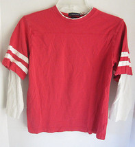 Boys Lands End Red & Off White Layered Jersey Size 8 - $7.69