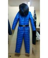 Male Ski Suit Shine Nylon Gloss Overall Snowsuit Winter Blue Man Anzug W... - $279.00