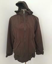Hilary Radley Studio Design Reversible Rain Jacket XS Brown Wool Hooded ... - $39.59