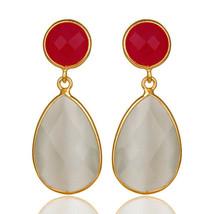 Pink Chalcedony White Moonstone 925 Sterling Silver Drop Earrings Jewelry - $24.75