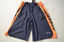 New! Boys Under Armour Heat Gear Loose Fit Shorts Size L Black/ORANGE - $18.69