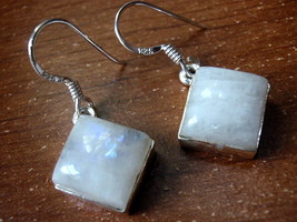Moonstone Earrings 925 Sterling Silver Square Cube Dangle Drop New #87a - $15.83
