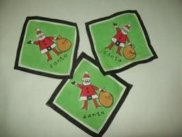 Set of 3 Vintage Cloth Cocktail Napkins - Green Linen - Santa with toys  - $17.81