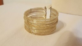 Vintage Clear Cuff Bracelet, 17 Rows Glass Beads Tied Together With Metal Thread - $4.94
