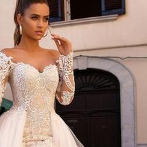 Celeb Vintage Bridal Euro Designer Long Sleeve Button Illusion Floral Embroidere image 4