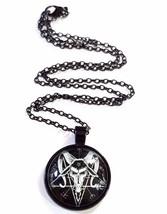 Baphomet Satan Pentagram Devil Glass Cabochon Anton Lavey Black Chain Pe... - $18.46