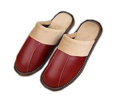 PANDA SUPERSTORE Dark Red Patchwork Leather Indoor Slippers for Women, US 6.5-7