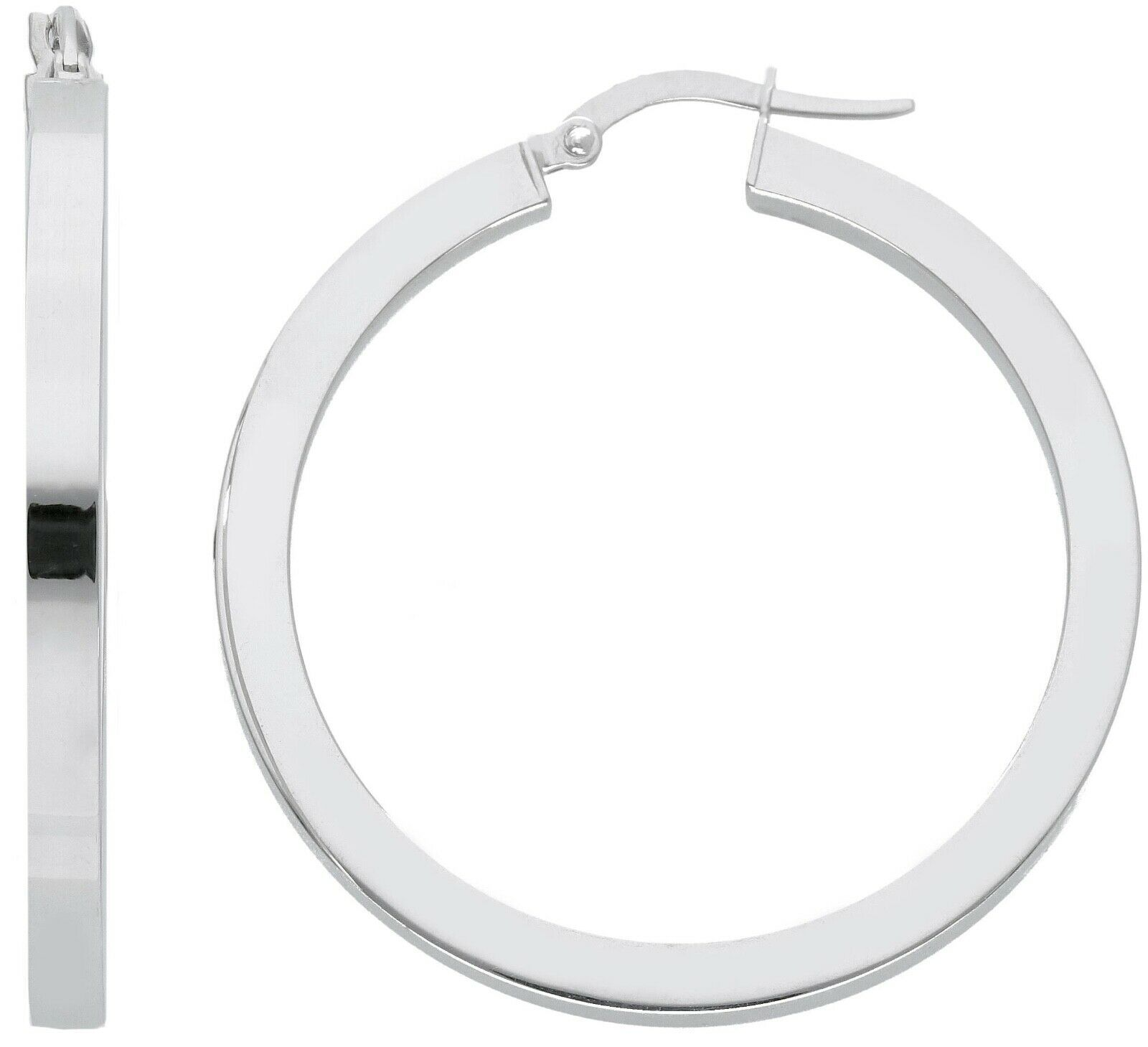 18K WHITE GOLD CIRCLE EARRINGS DIAMETER 30 MM WITH SQUARE TUBE     MADE IN ITALY