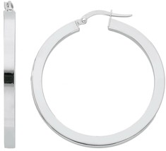 18K WHITE GOLD CIRCLE EARRINGS DIAMETER 30 MM WITH SQUARE TUBE     MADE IN ITALY image 1