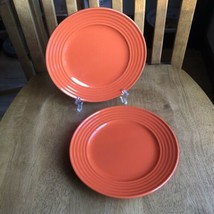 "Royal Norfolk Assiette Ringed Orange Salad Plates 8"" Set Of 2 NWT - $11.88"