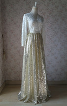 Gold Sequin Maxi Skirt Women Plus Size Sequin Maxi Skirt Sparkly Skirt image 8