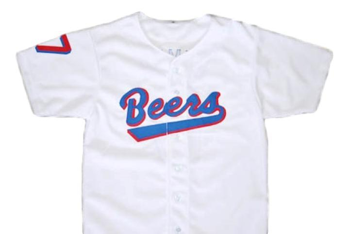 Doug remer  17 baseketball beers baseball button down jersey white 1