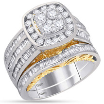 14kt Two-tone White Yellow Gold Round Diamond Cluster Bridal Wedding Ring Set - $2,200.00