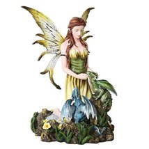 9.25 Inch Winged Fairy with Dragon Hatchlings Statue Figurine - $55.55
