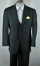 Murano Collezione Men's Black & Gray Striped All Season Wool Suit 44R 44 R - $125.99