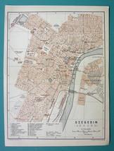 "1905 MAP Baedeker - HUNGARY Szeged Szegedin Town Plan 6 x 8"" (15 x 20 cm) - $10.12"