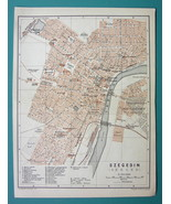 "1905 MAP Baedeker - HUNGARY Szeged Szegedin Town Plan 6 x 8"" (15 x 20 cm) - $10.12"