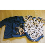 2 Pc Disney Baby Mickey Mouse Blue Top and Romper Set 3-6 Months 100% co... - $18.64