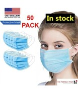 50 PCS Face Mask Medical Surgical Dental Disposable 3-Ply Earloop Mouth ... - $11.59