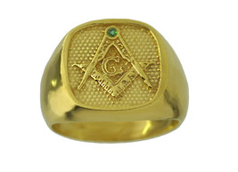 24kt Gold pltd over Sterling Silver Emerald free mason MASONIC RING Free... - $45.39
