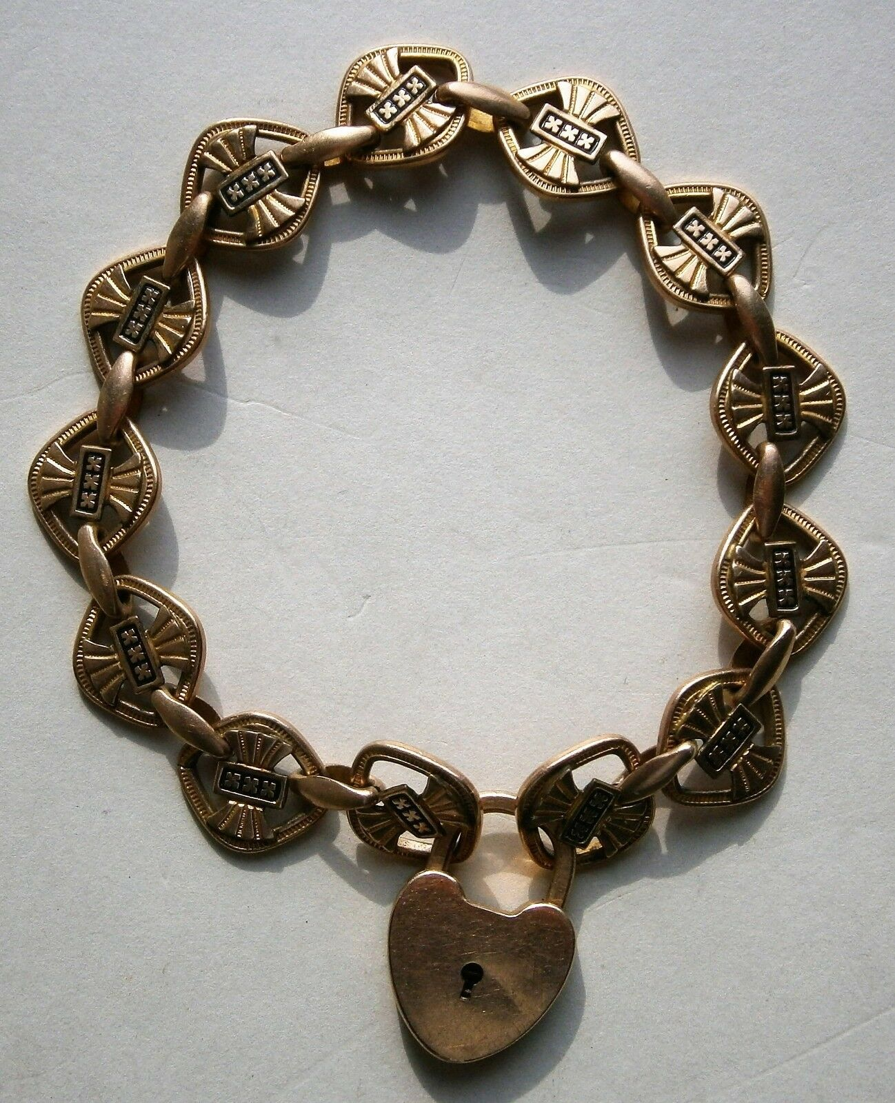 Gold Filled Bracelet with 10K Yellow Gold Trick Lock from the early 1900's