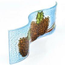 Fused Art Glass Winter Pinecones Wavy Decor Holiday Sun Catcher Handmade Ecuador image 5