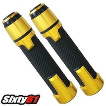 Yamaha R1 R3 R6 Black Grips 1999-2019 2020 Gold Comfort Hand Spiked Bar Ends 7//8