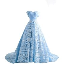Women's Blue Off Shoulder Lace Appliques Formal Dresses Evening Dress Wi... - $149.99