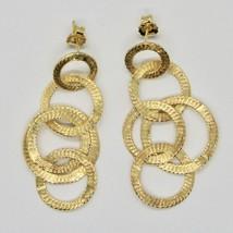 Boucles D'Oreilles Pendantes Argent 925 Feuille or Cercles By Maria Ielpo - $148.71