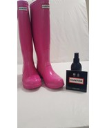 Hunter Lipstick Tall Boots Original Gloss Size US 5 Pre Owned - $89.10
