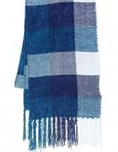 NEW Charter Club Women's Checkered Fringe Scarf Mikinos Blue - £14.66 GBP